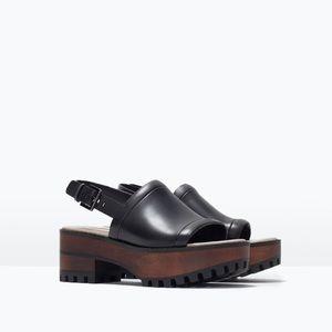 Zara Wooden Platform Sandals Sz 10